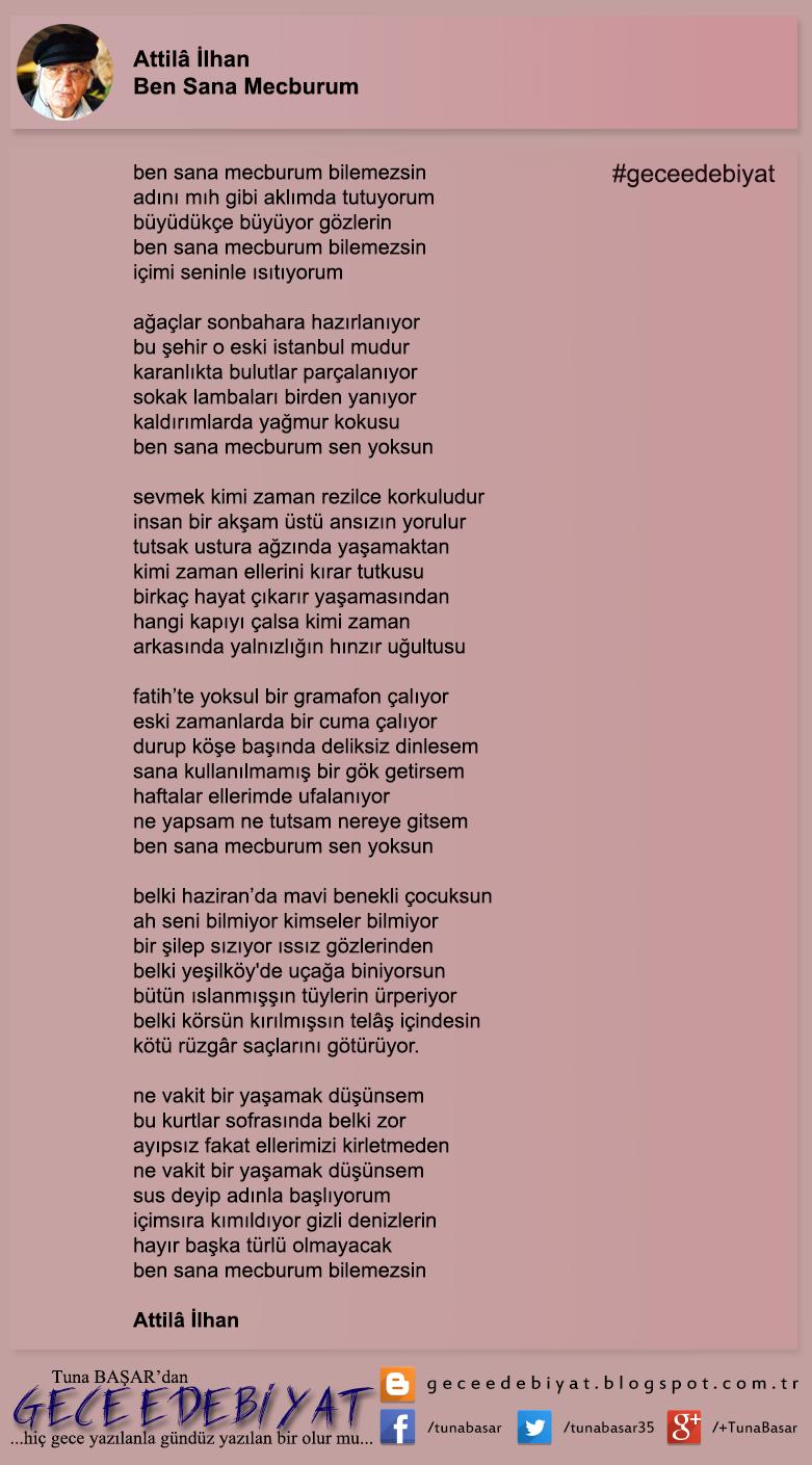 Günün şiiri 13 Ben Sana Mecburum Attilâ Ilhan