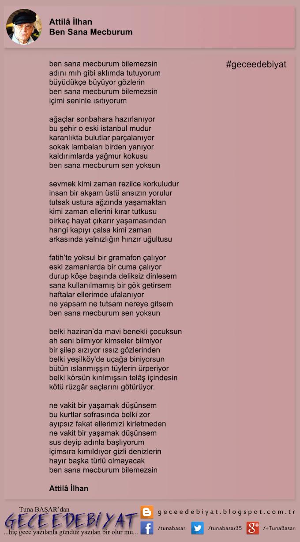 Günün Şiiri -13- / Ben Sana Mecburum - Attilâ İlhan