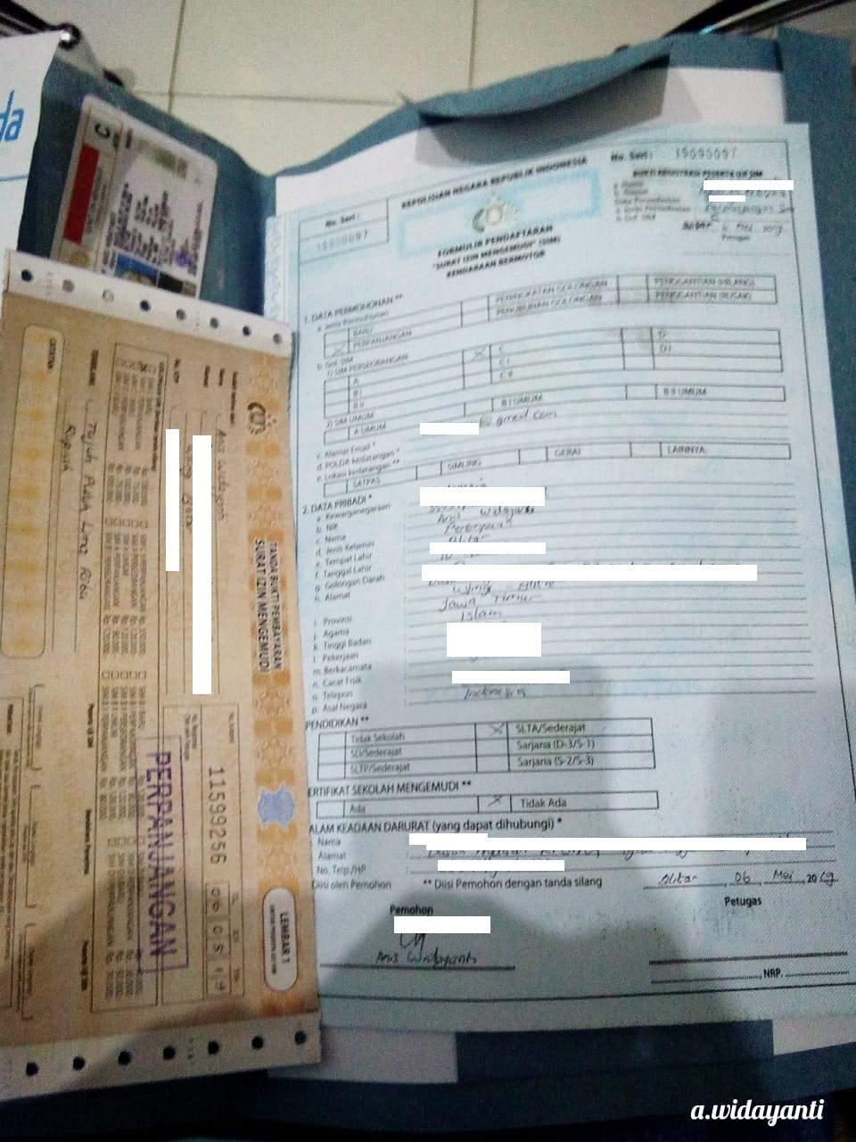 Formulir Permohonan SIM dan Kwitansi