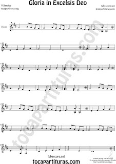 Trompa y Corno Francés Partitura de Gloria in excelsis deo Villancico en Mi bemol Sheet Music for French Horn Music Scores