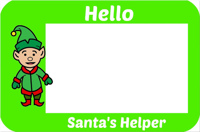 Printable Santas Helper Badge Green