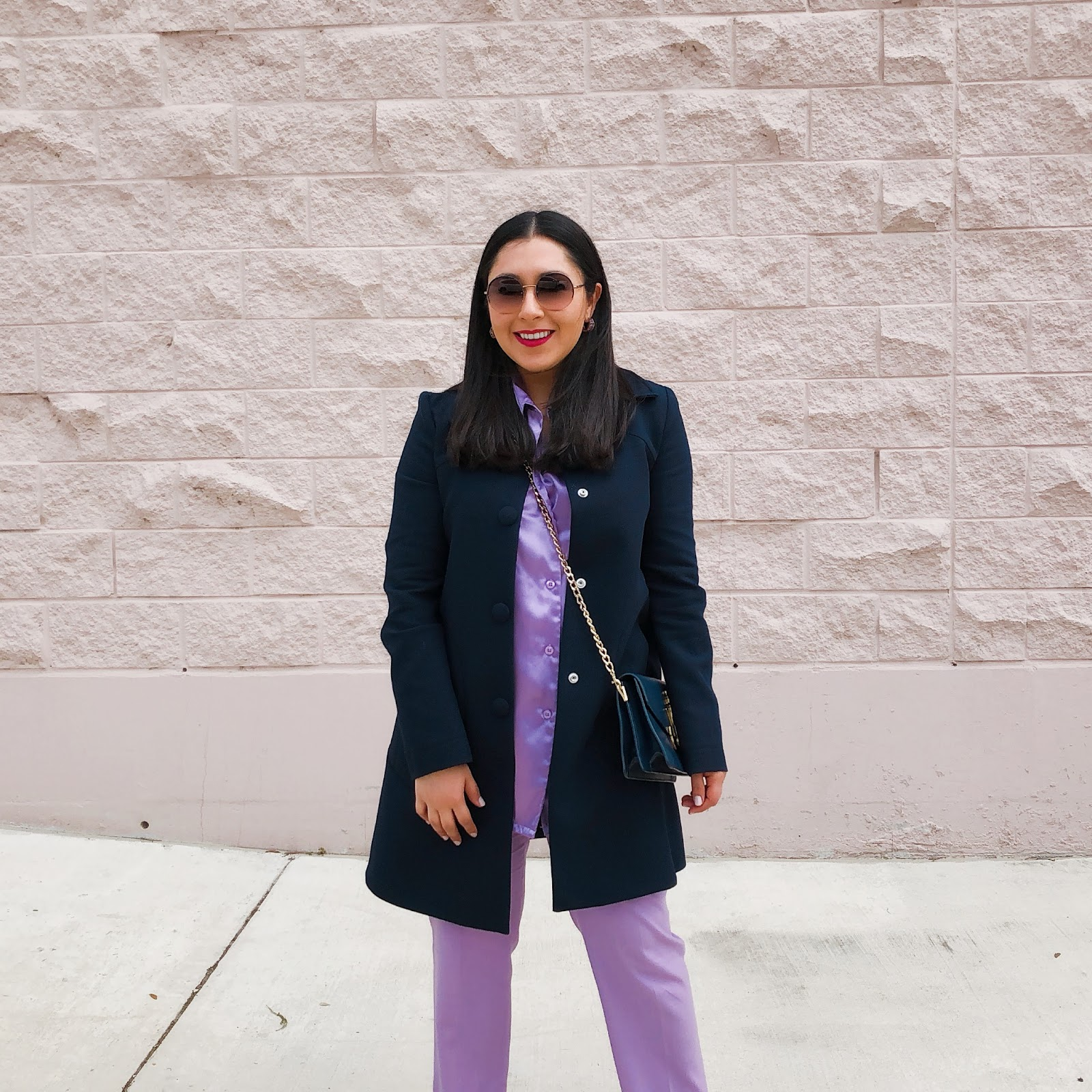 Lilac and Navy, Pastel Colors, Spring Outfit, One color Outfit, Valentino Dupe