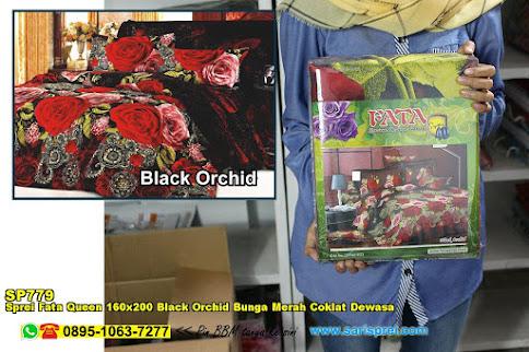 Sprei Fata Queen 160x200 Black Orchid Bunga Merah Coklat Dewasa