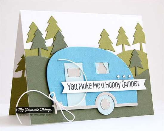 Handmade card from Inge Groot featuring Roughing It stamp set, Tree Lines and Happy Camper Die-namics #mftstamps