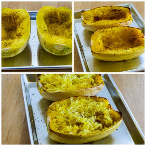 Roasted Spaghetti Squash with Mizithra Cheese and Browned Butter found on KalynsKitchen.com.