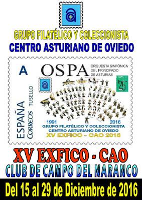Cartel de la EXFICO-CAO en el Centro Asturiano 2016