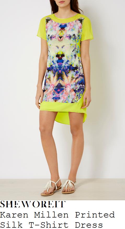 gaby-roslin-karen-millen-bright-yellow-and-multicoloured-mirror-palm-tree-print-short-sleeve-dipped-hem-silk-t-shirt-dress