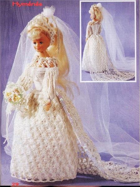 Vestido de Noiva Para Barbie Em Crochê   Modelo 1  Himénée