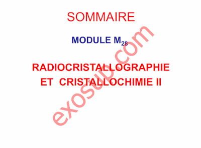 Cours Radiocristallographie et Cristallochimie II smc s5 FSK