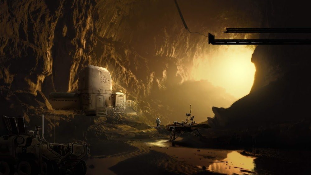 Underground human base in Mars cave by Sefrina Arifin