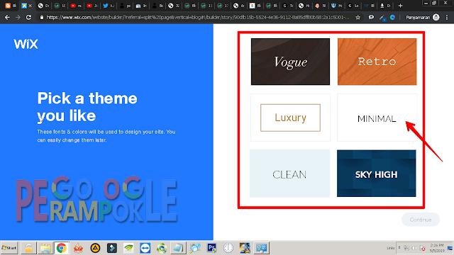 Pilih theme untuk website kamu