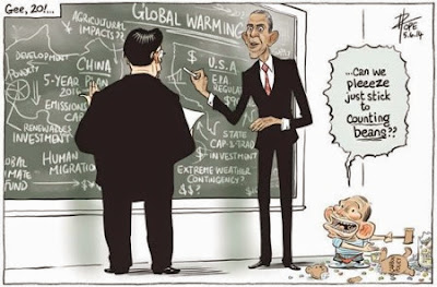 David Pope's cartoon showing China and the US working on climate change solutions with Australia represented as a child playing off to one side.
