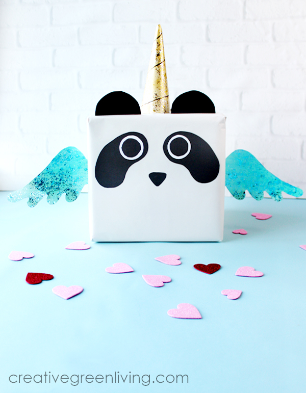How to make a kawaii pandicorn panda unicorn valentine box! This tutorial shows you how to make a DIY valentines box with a printable pandacorn template pattern for making a unicorn valentines box. This would also make a great card box for a birthday party. #creativegreenliving #pandicorn #panda #unicorn #pandaunicorn #pandacorn #valentinebox #unicornvalentinebox