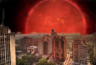 An artist's impression of what our Sun may look like from Earth as a Red Giant Star
