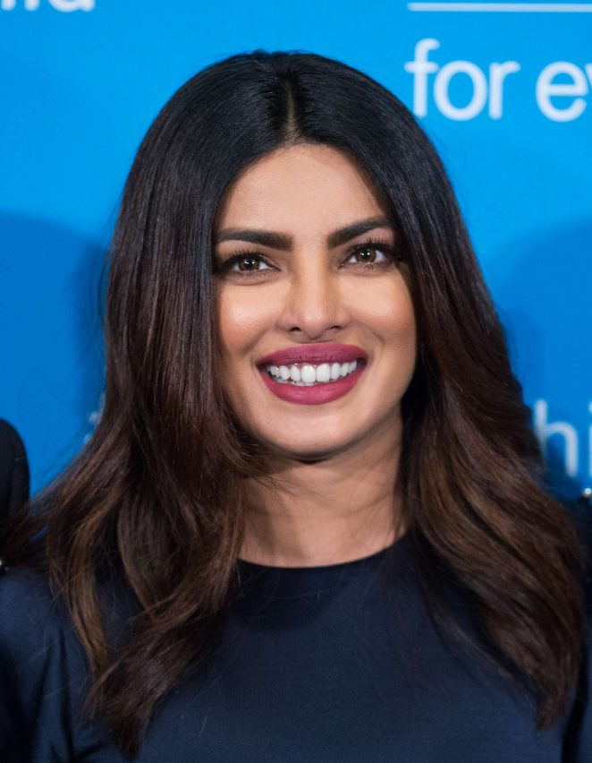 Actress Priyanka Chopra Long Hair Stills In Blue Dress