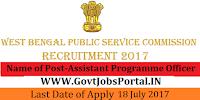 West Bengal Public Service Commission Recruitment 2017– 50 Assistant Programme Officer