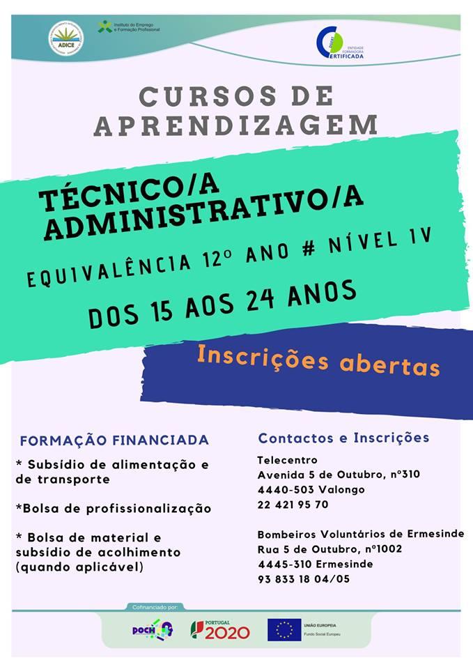 Cursos financiados em Valongo e Paredes (2019)