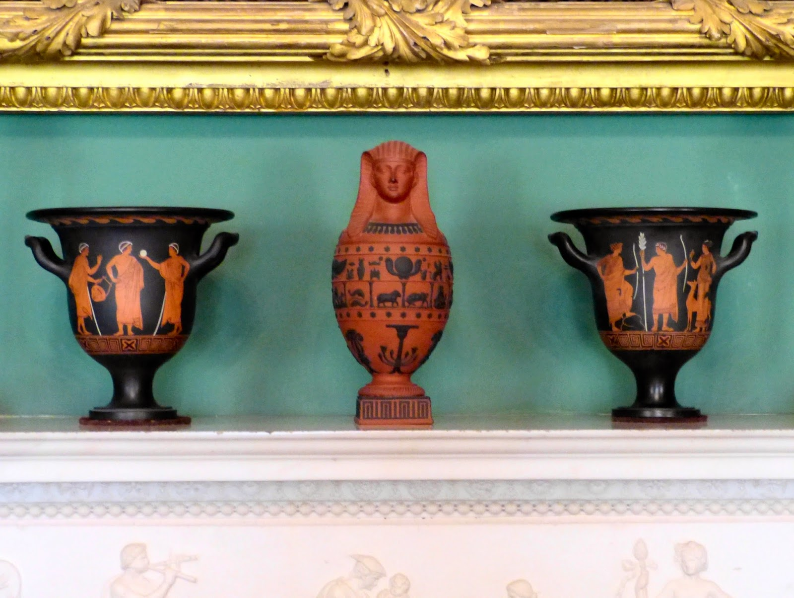 Wedgwood pots on the mantelpiece in the Picture Room, Stourhead