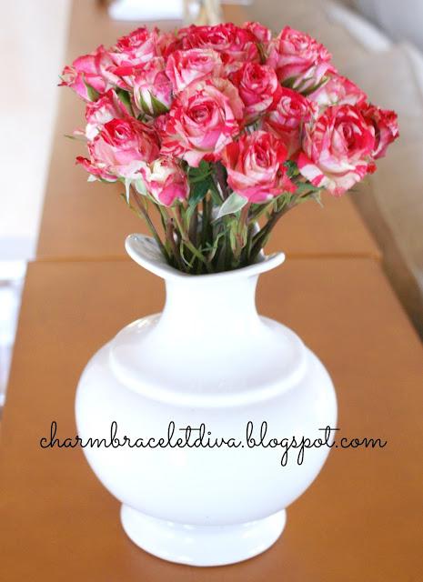 Vintage white Haeger vase with red mini roses Valentine'sdecor