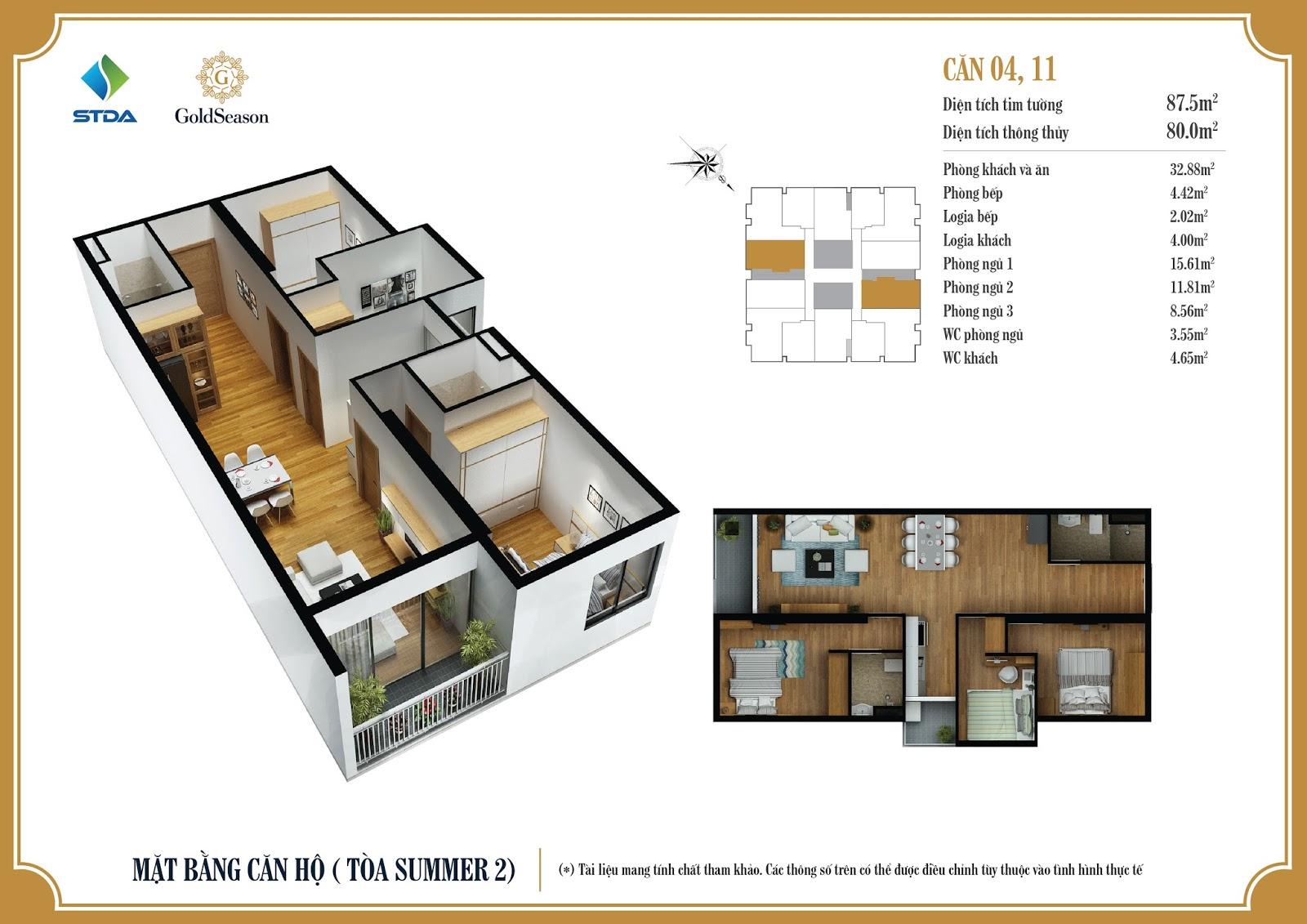 Mặt bằng căn hộ 04, 11 - 84,4m2 - GoldSeason