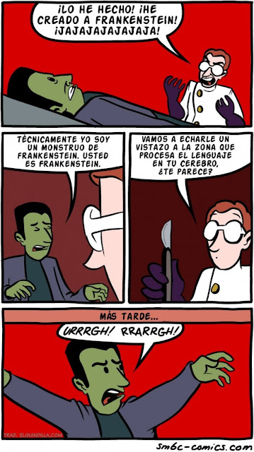 Meme de humor sobre el doctor Frankenstein y su monstruo
