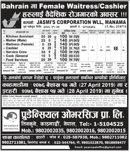 Jobs in Bahrain for Nepali, Salary Rs 44,030