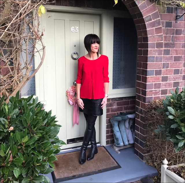 My Midlife Fashion, BA&sh Eliet Top, marks and spencer faux leather a line skirt, zara over the knee boots