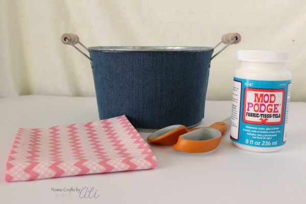 craft supplies needed to decorate tin bin