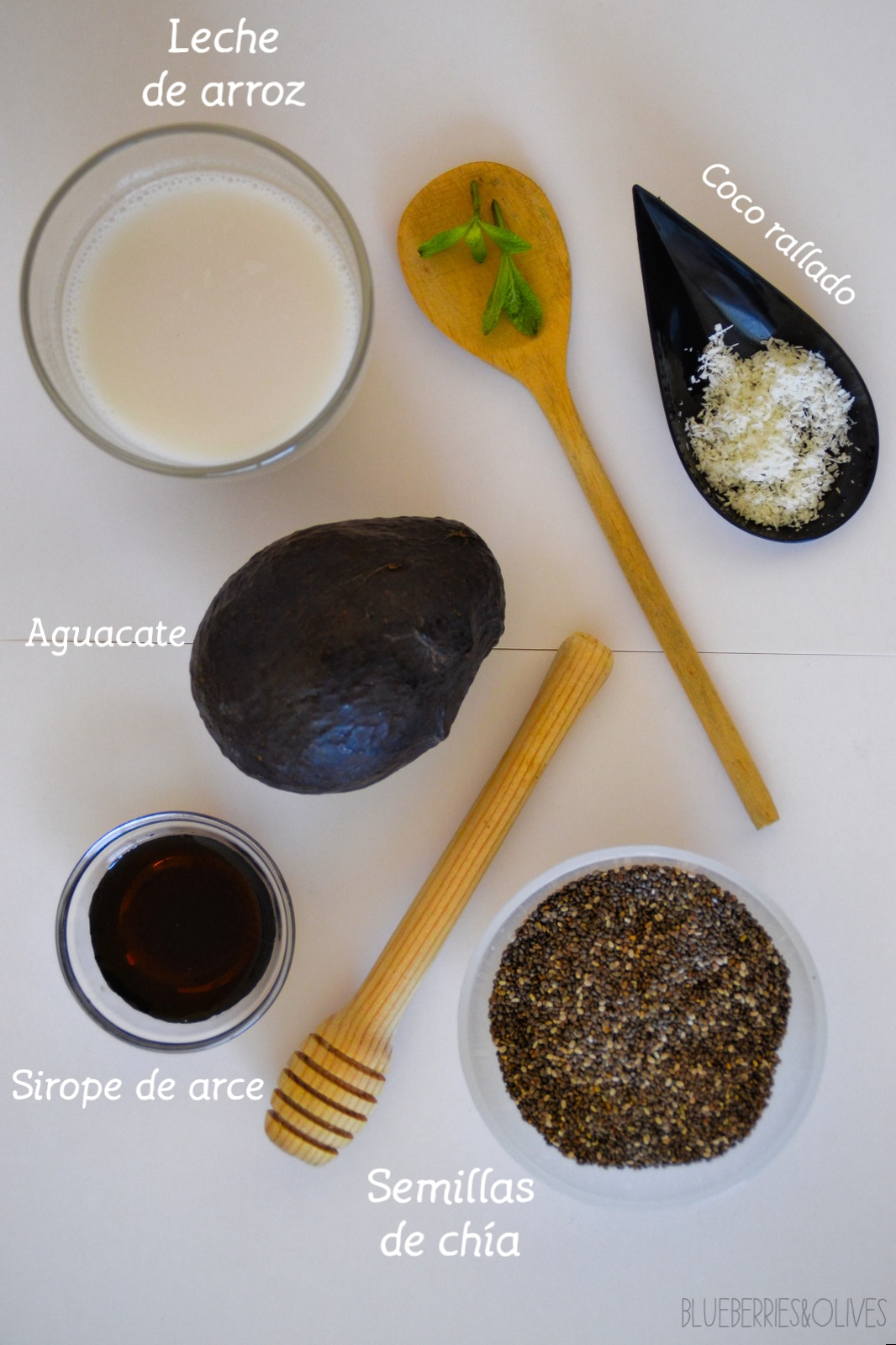 INGREDIENTS - CHIA AND AVOCADO PUDDING