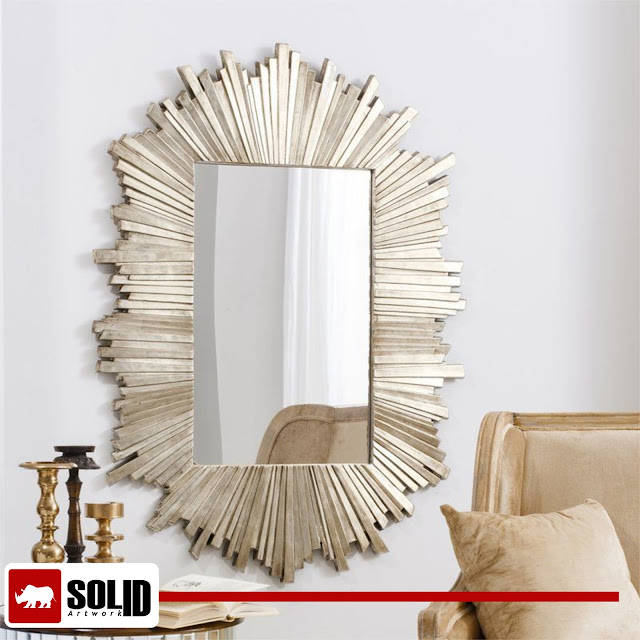 Sunburst Gold Metal Mirror Wall Mounted