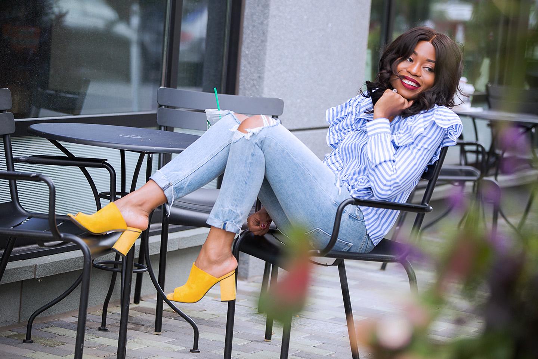 Ruffle blouse, girlfriend jeans, topshop mules, www.jadore-fashion.com