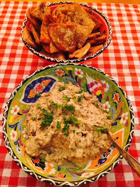 Baba Ghanoush eggplant dip and Za'atar pitta crisps