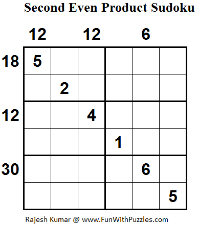 Second Even Product Sudoku