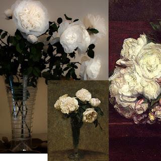 """Les Créations Messagères : Bouquet de Rosa Plasticae """"Henri Fantin-Latour"""", Henri Fantin-Latour : """"Roses in a Vase"""", 1872 et Flowers, White Roses, 1871, détail - Exposition de produits dérivés inspirés par l'univers du peintre Henri Fantin-Latour, Galerie de la Marraine"""
