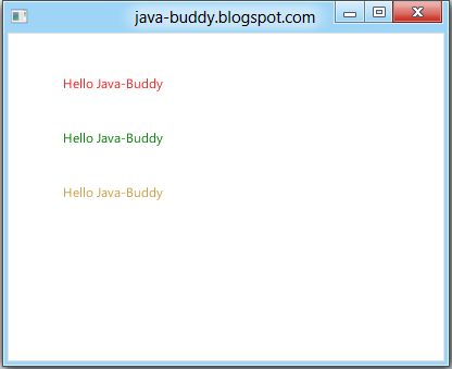 Java-Buddy: JavaFX exercise: Set text color using javafx