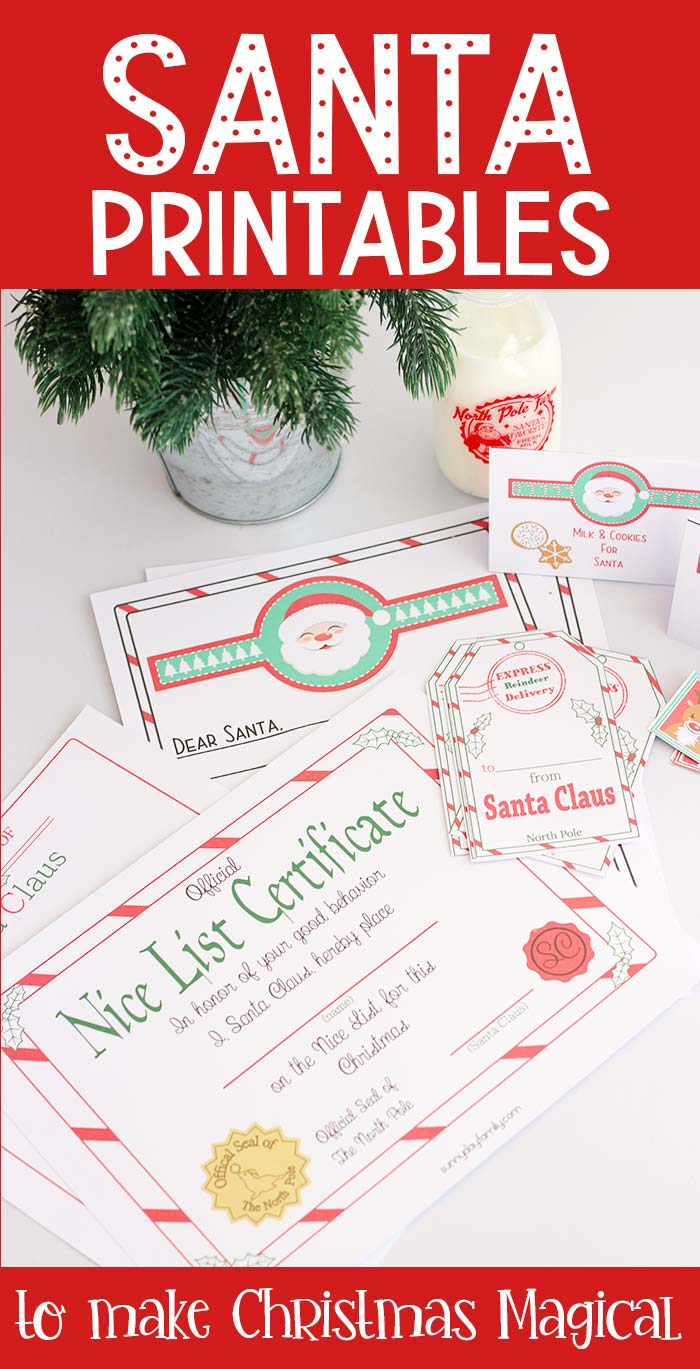 Make Christmas magic easy with these adorable Santa printables! Includes a letter to Santa, letter from Santa, Nice List certificate, Santa gift tags, gift labels, milk & cookies tags, and reindeer food tags. Super cute and fun for the whole family! #christmas #santa #instantdownload #christmasgift #santaclausiscomingtotown