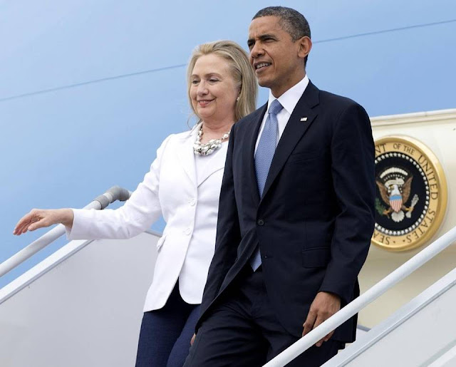 Hillary and Obama getting out of Air Force One