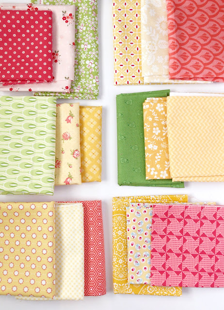 Scrap fabrics found on A Bright Corner blog - love these colors together