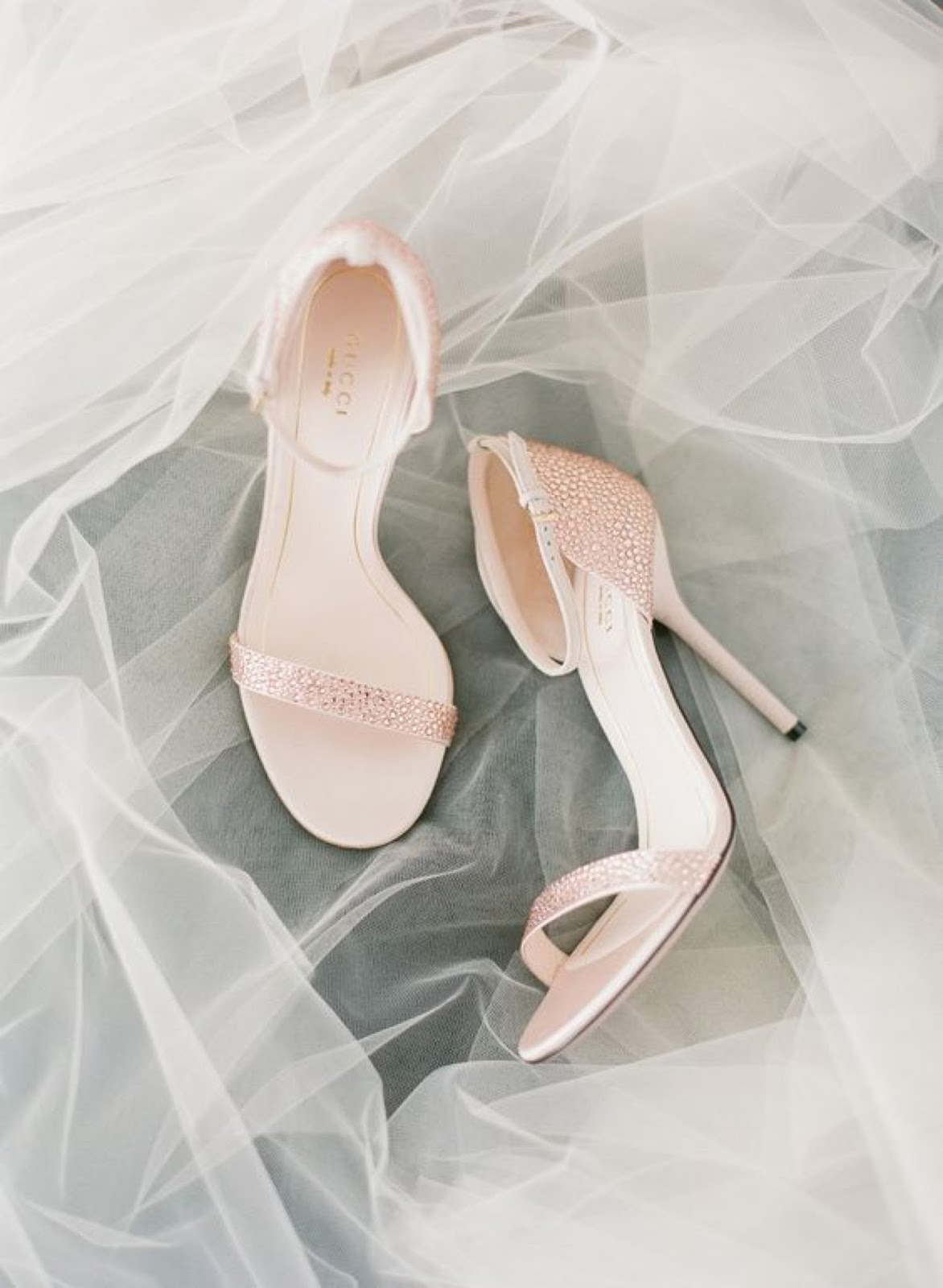 pink wedding shoes on tulle