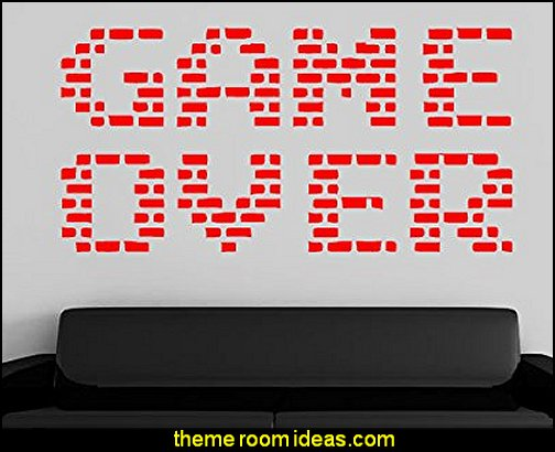 game over wall decal  Gamer bedroom - Video game room decor - gamer bedroom furniture - gamer wall decal stickers - Super Mario Brothers Wall Stickers - gamer bedding - Super Mario Brothers bedding - Pacman decor -  Retro Arcade bedrooms - 80s video gamers - gamer throw pllows