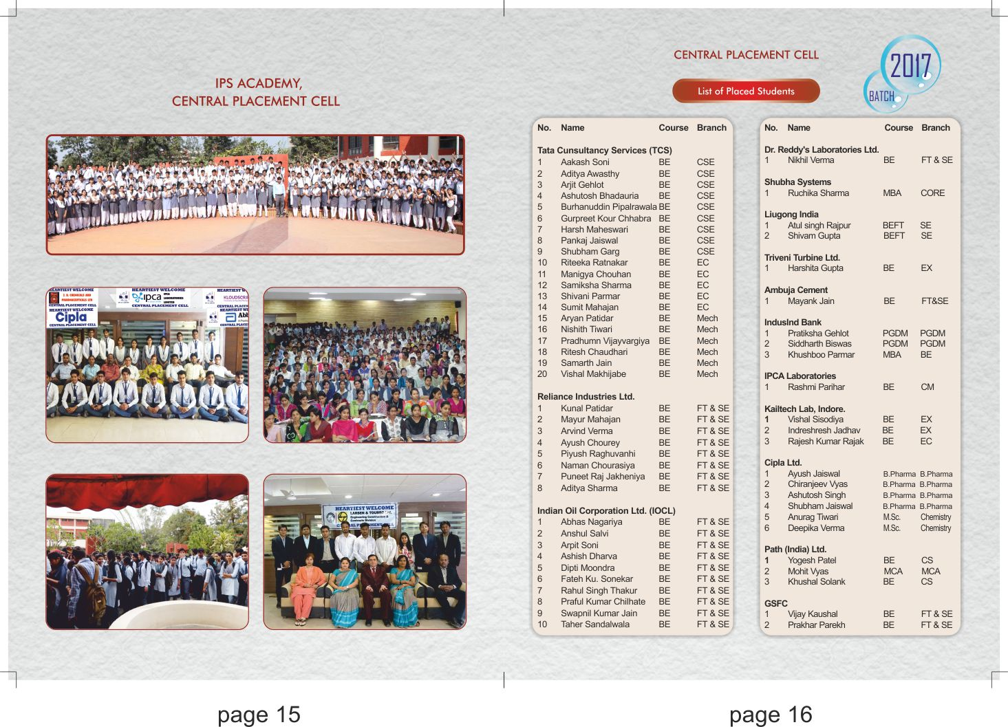 Central placement cell ips academy placements 2016 2017 for Placement brochure design