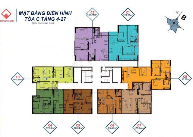 Mặt bằng tầng căn hộ điển hình tòa C, Việt Đức Complex