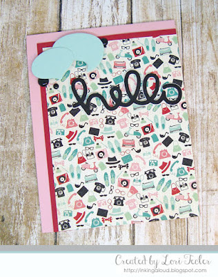 Retro Hello card-designed by Lori Tecler/Inking Aloud-dies from Lawn Fawn
