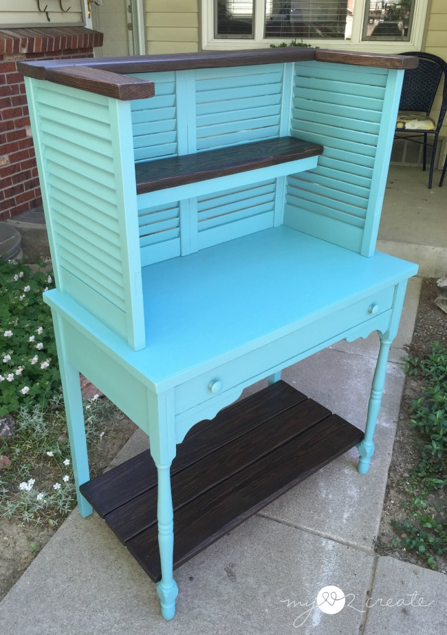 Potting Bench From Repurposed shutters and Desk, MyLove2Create