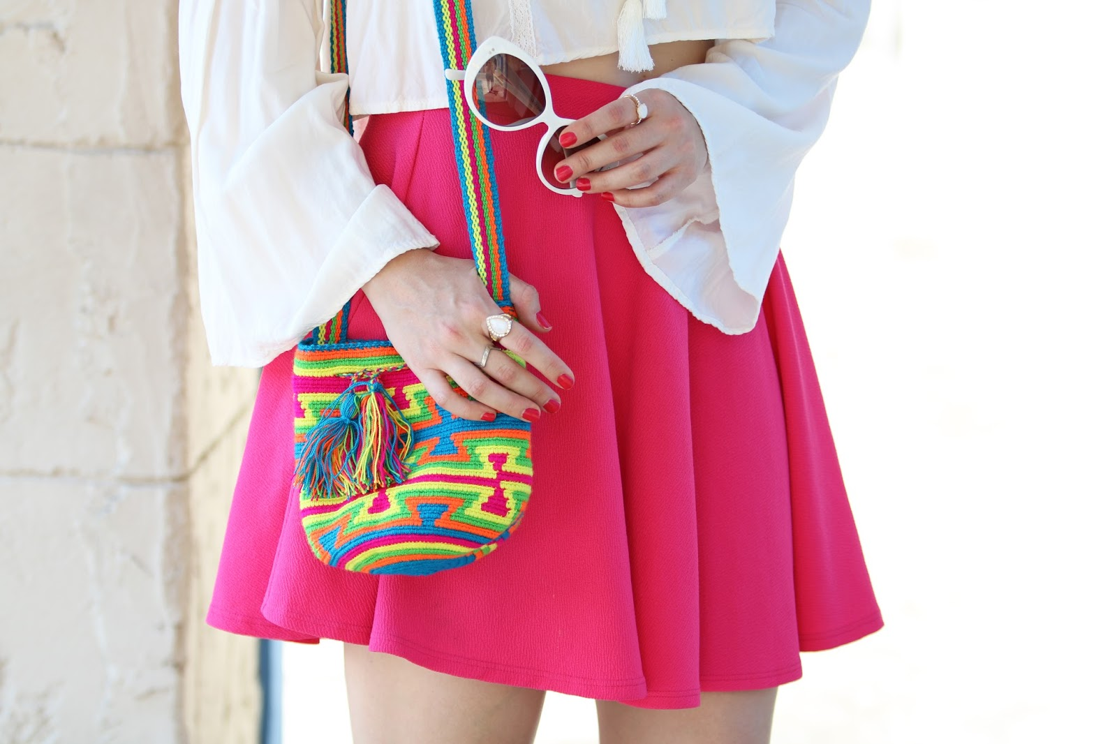 Colorful boho bag outfit