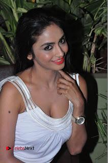 Actress Model Pooja Sri Stills in White Short Dress at F Club pre soft Launch  0083.JPG