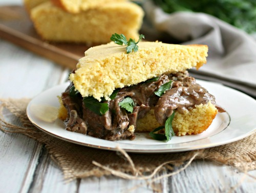 Buttermilk Cornbread and Pot Roast Sandwich
