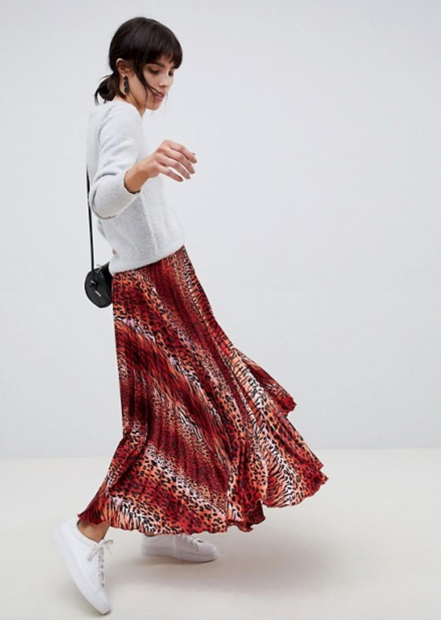 ASOS design satin pleated midi skirt in red and pink leopard print