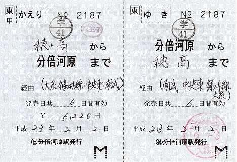JR東日本 補充往復乗車券(学割) 分倍河原駅