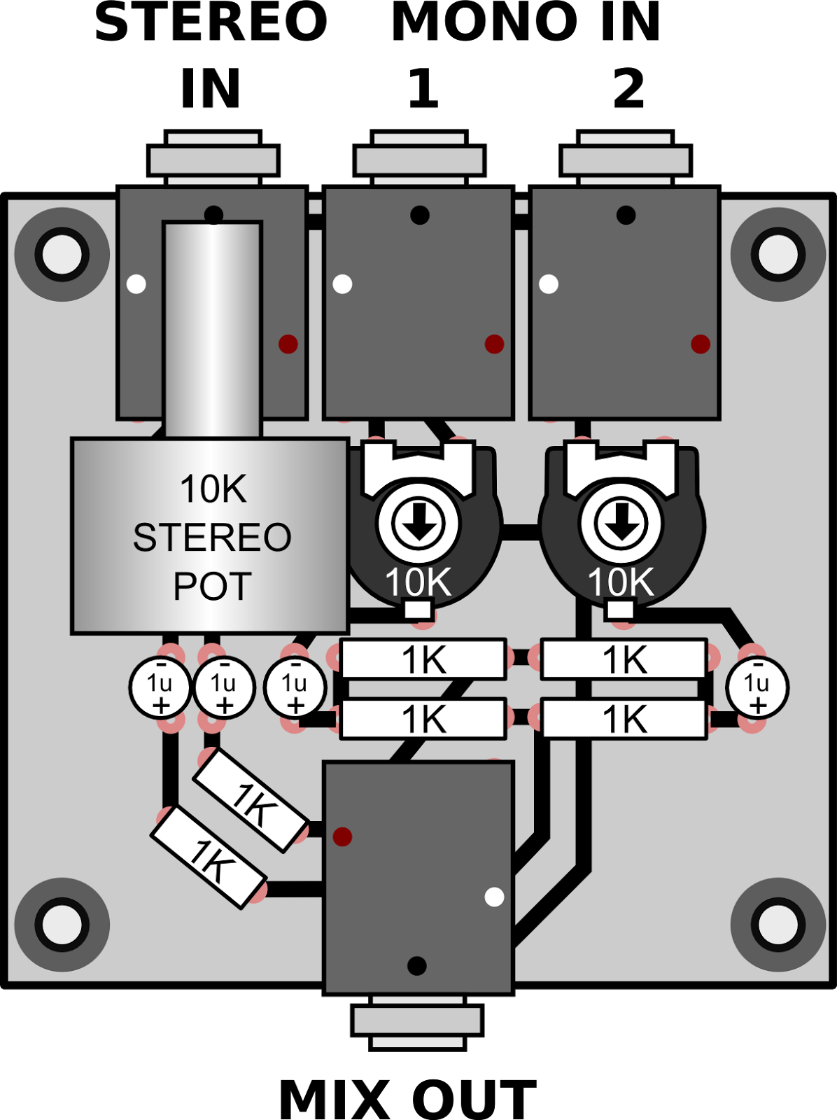 4 Channel Audio Mixer Schematic Manual Guide Wiring Diagram Circuit Therandomlab Simple Passive Mono Stereo To